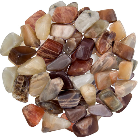 pile of polished moonstones of various colors