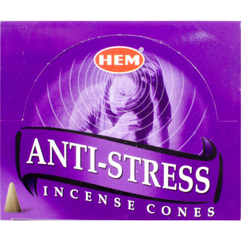 "box of incense cones labeled ""anti-stress"""