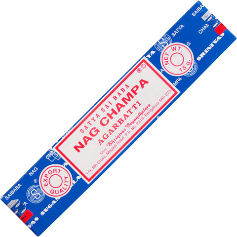 "box of incense sticks labeled ""nag champa agarbatti."""