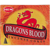 "box of incense cones labeled ""dragons blood"""