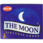 "box of incense cones labeled ""the moon"""
