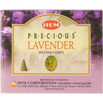 "box of incense cones labeled ""precious lavender"""