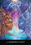 "Card labeled ""Harmonic Flight."" Card depicts two faces, one covered in orange feathers the other in blue feathers, looking at each other longingly. Above them is a shining infinity symbol."