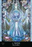 "card labeled ""water - the overflow."" card depicts an eight-armed blue goddess. A crescent moon hangs above her head, and water is falling from her hands."