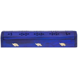 blue wood incense stick box with brass inlay of elephant