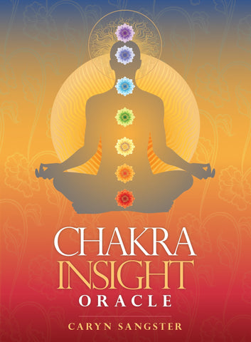 "box labeled ""chakra insight oracle, by caryn sangster."" image depicts a silhouette of a person meditating with images of the seven chakras overlaid on their body."