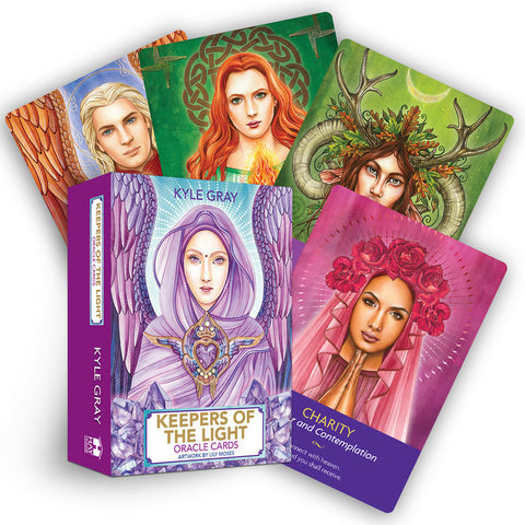 "box labeled ""keepers of the light oracle cards."" cards depict a goddess figure in a pink veil, a horned god, and a celtic goddess wreathed in flames"