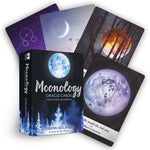 "box labeled ""moonology oracle cards."" cards depict the moon in various phases and locales."
