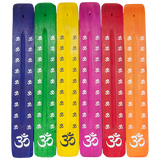 "collection of incense ash catchers in multiple colors, painted with ""om"" symbol"
