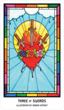 "card labeled ""three of swords."" depicts a flaming heart with three swords driven through it."