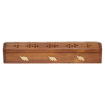 wood incense stick box with brass inlay of elephant
