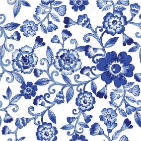Blue & White Watercolour Flowers