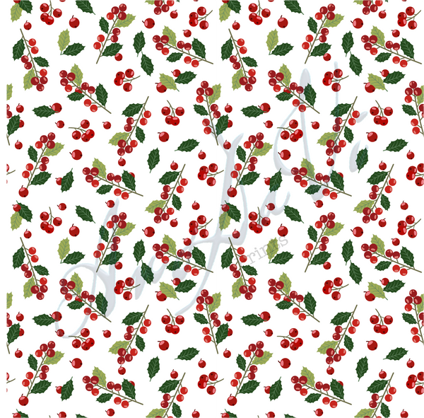 Christmas Holly Berry White