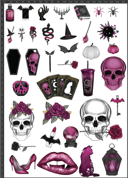 Pink Halloween A4 Sheet
