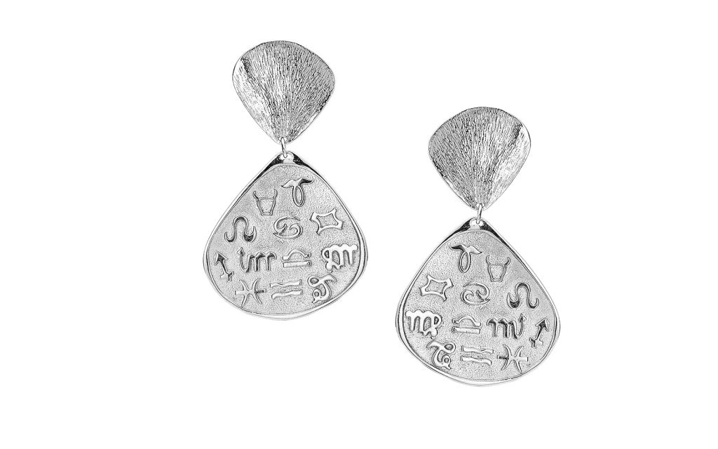 Talisman Zodiac Large Drop Earrings - Stirling Silver