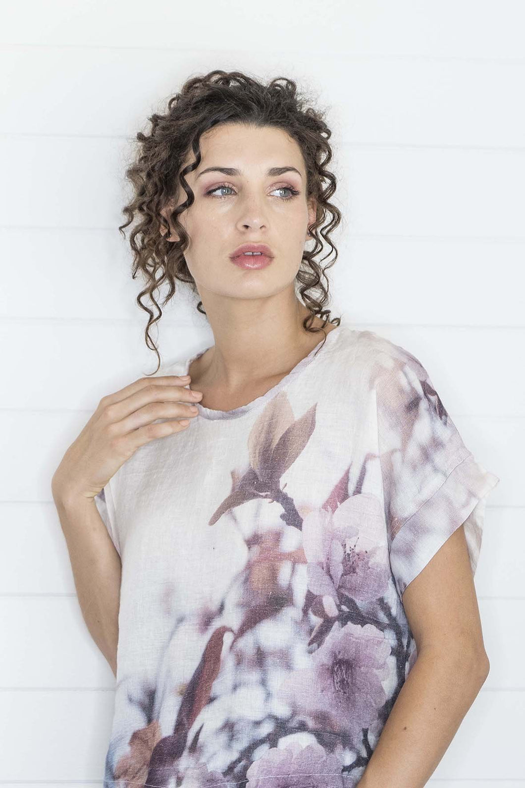 Apple Blossom Linen T-Shirt