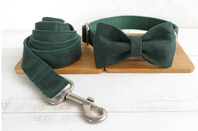 THE FOREST Personalized Dark Green Dog Collar, Bow Tie & Leash Set
