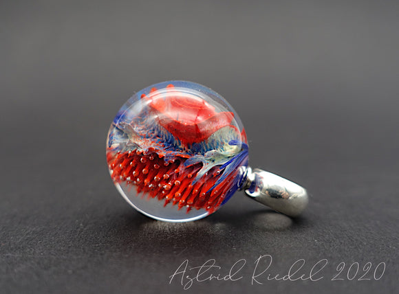 Coral Rose - Glass Marble pendant