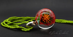 Double flower - Glass Marble pendant