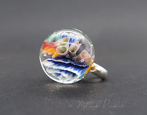 Glass Marble pendant- Miracle of the flower