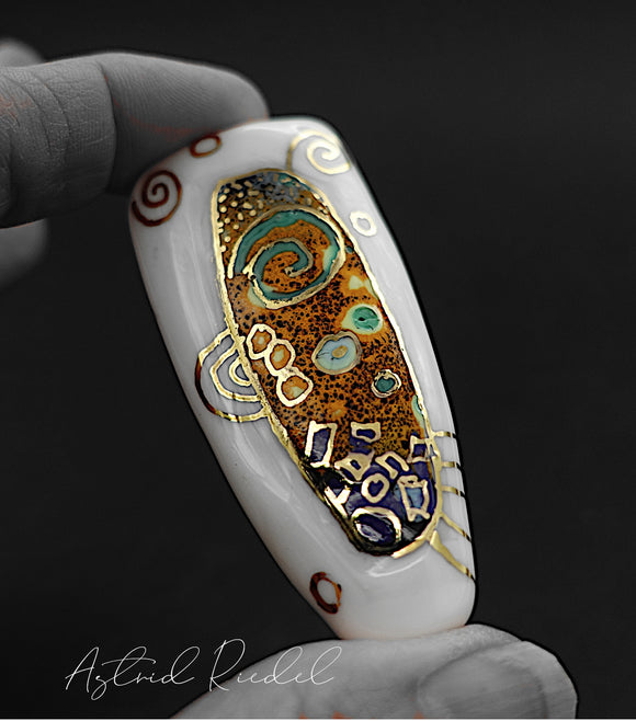 Gold art bead- Cosmic night_ Astrid Riedel glass art