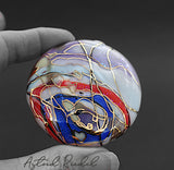 Gold art bead-Blown bead abstract design-Astrid Riedel glass art