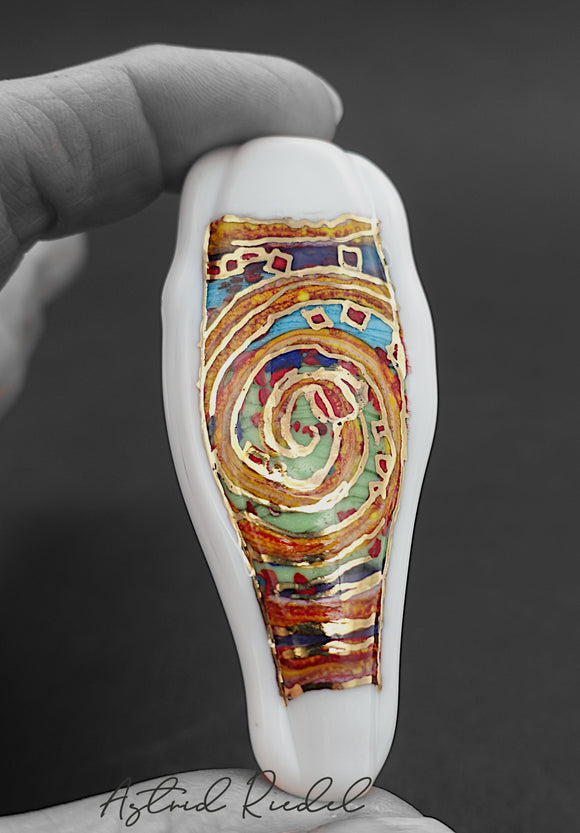 Gold art bead-Dream scape-Astrid Riedel glass art