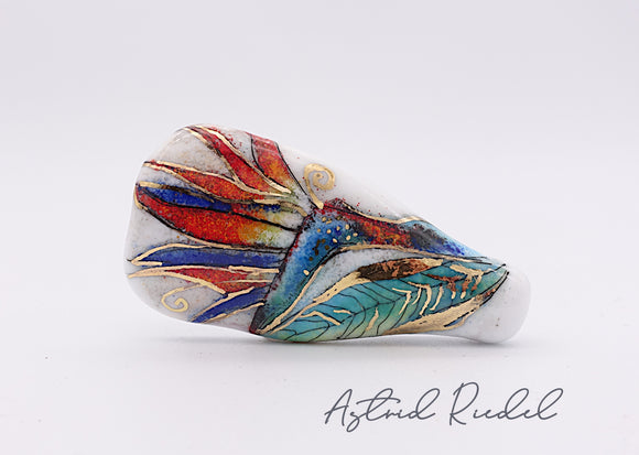 Gold art -Bird of Paradise Flower-Astrid Riedel glass art