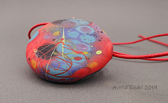 Blown disc, Abstract red design- by Astrid Riedel