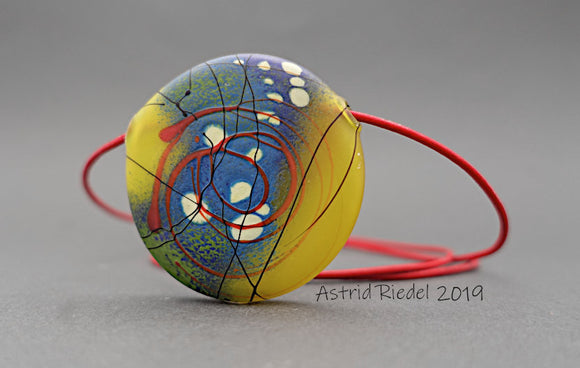 Blown disc, Abstract Red circles on yellow - by Astrid Riedel