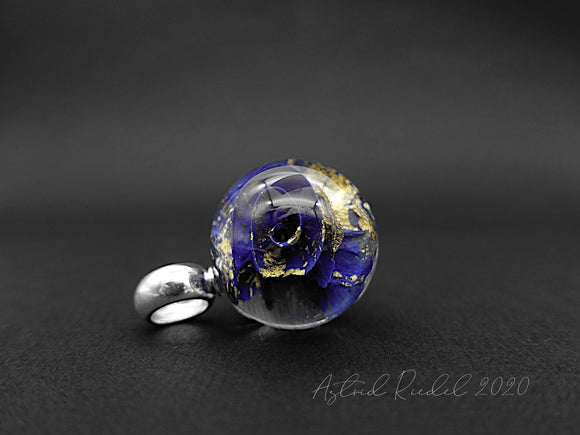 Marble pendant - 22ct Gold leaf and Deep Blue Swirls