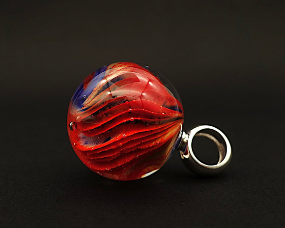 Marble pendant - Deep Pleats in Red and Blue