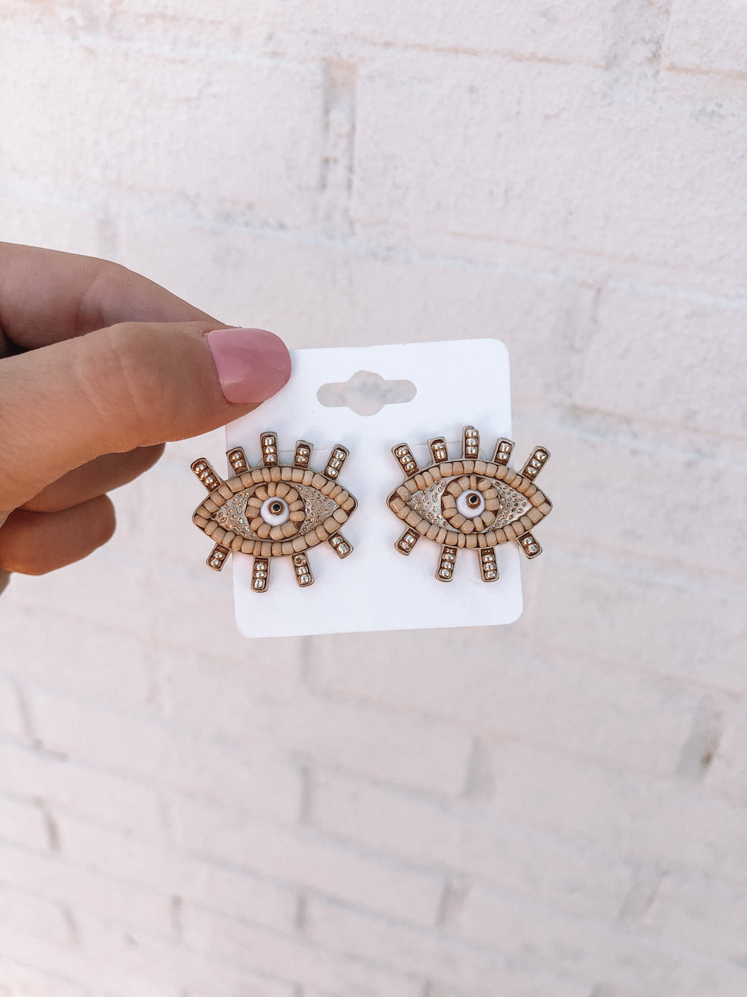 Evil Eye Beaded Earrings, Tan/Gold