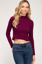 Load image into Gallery viewer, Lovin' On You Crop Sweater, Wine