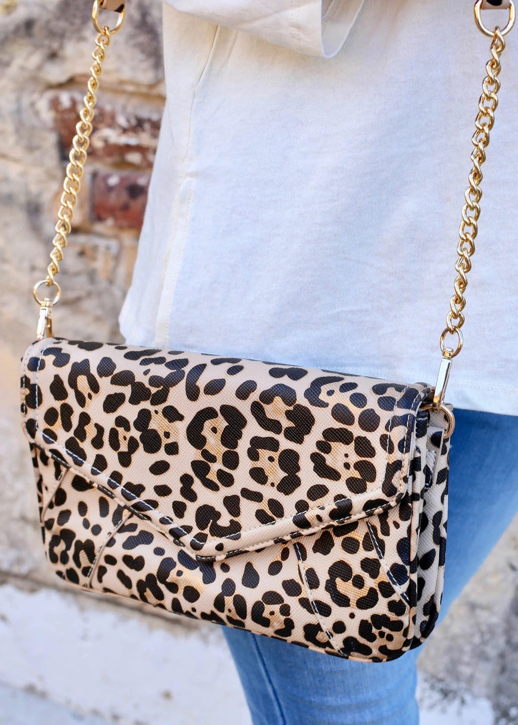 Lauren Crossbody, Tan Leopard