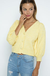 Button Fly Crop Cardigan, Yellow