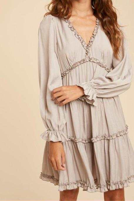 Meg Ruffled Satin Dress, Cashmere