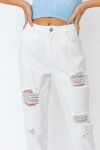 Know Your Luck Distressed Jeans, White