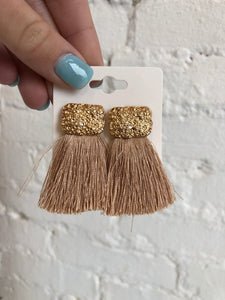Elle Tassel Earrings, Beige