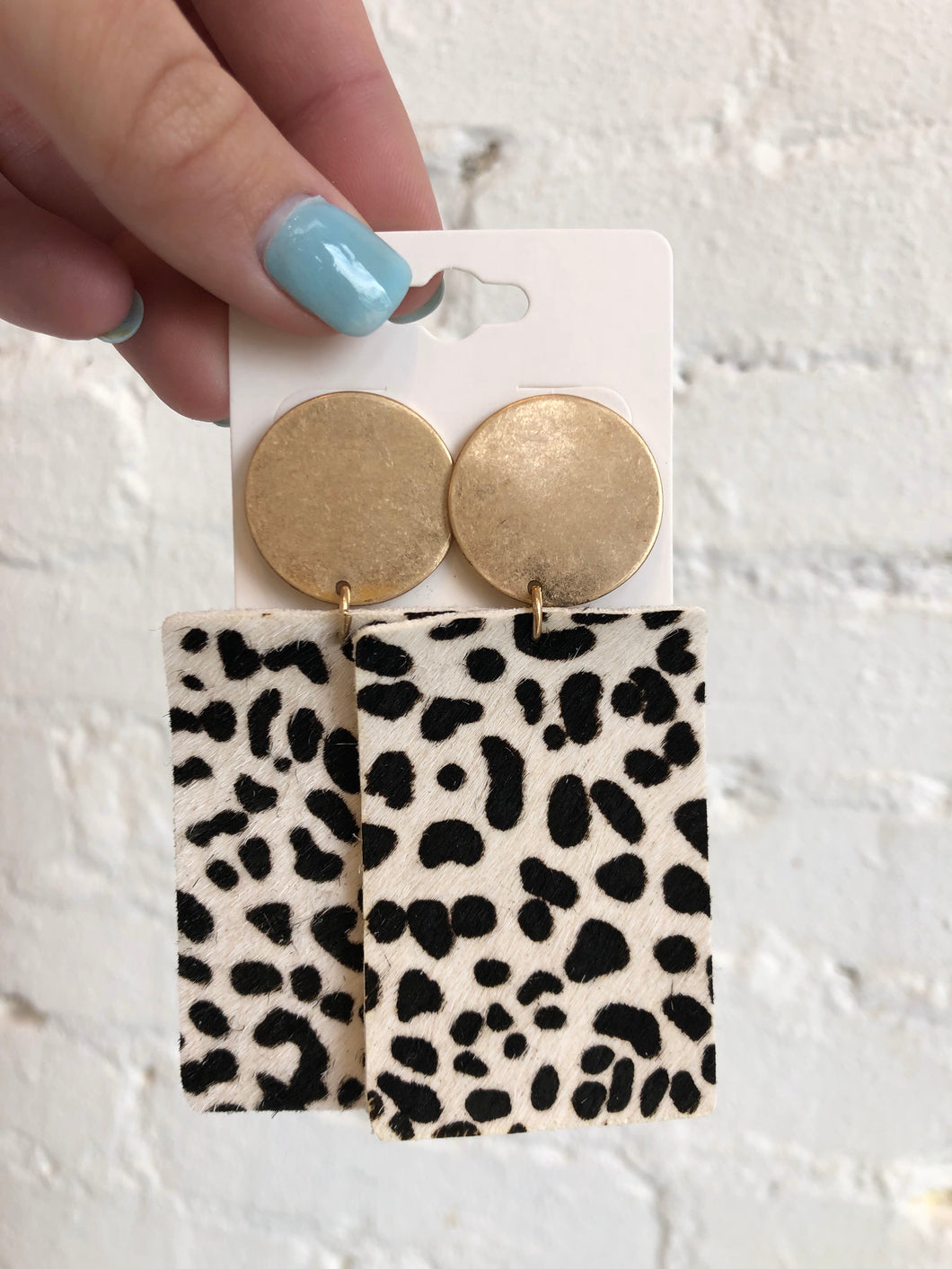 Wild About You Earrings, White/Cheetah