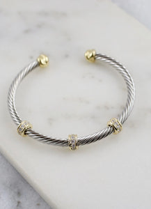 CH Stella Two Tone Cable Bracelet, Gold/Silver