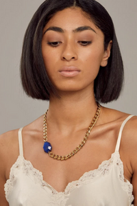 Cathy Pope Lapis Gold Necklace