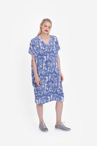 Elk Cirkus Dress - Blue/White Print