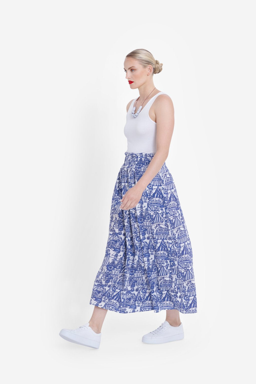 Elk Cirkus Skirt - Blue/White Print