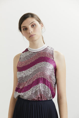 Charmaine Reveley Viola Top - Berry Wave Sequin