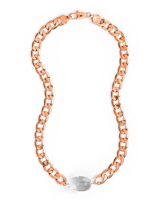 Cathy Pope Clear Quartz Rose Gold Necklace