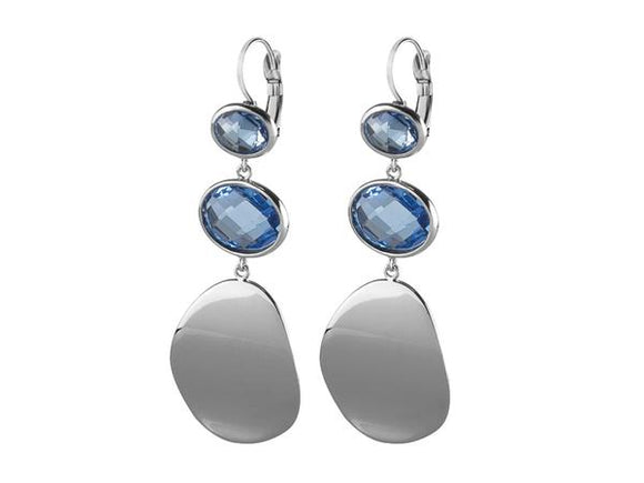 Dyrberg/Kern Sedora Brushed Silver & Crystal Earrings
