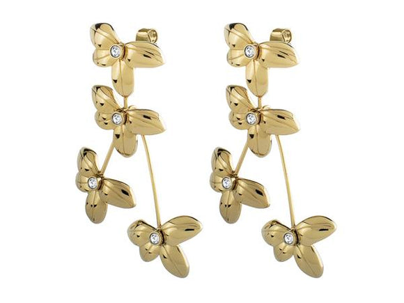 Dyrberg/Kern Yamato Shiny Gold & Crystal Earrings