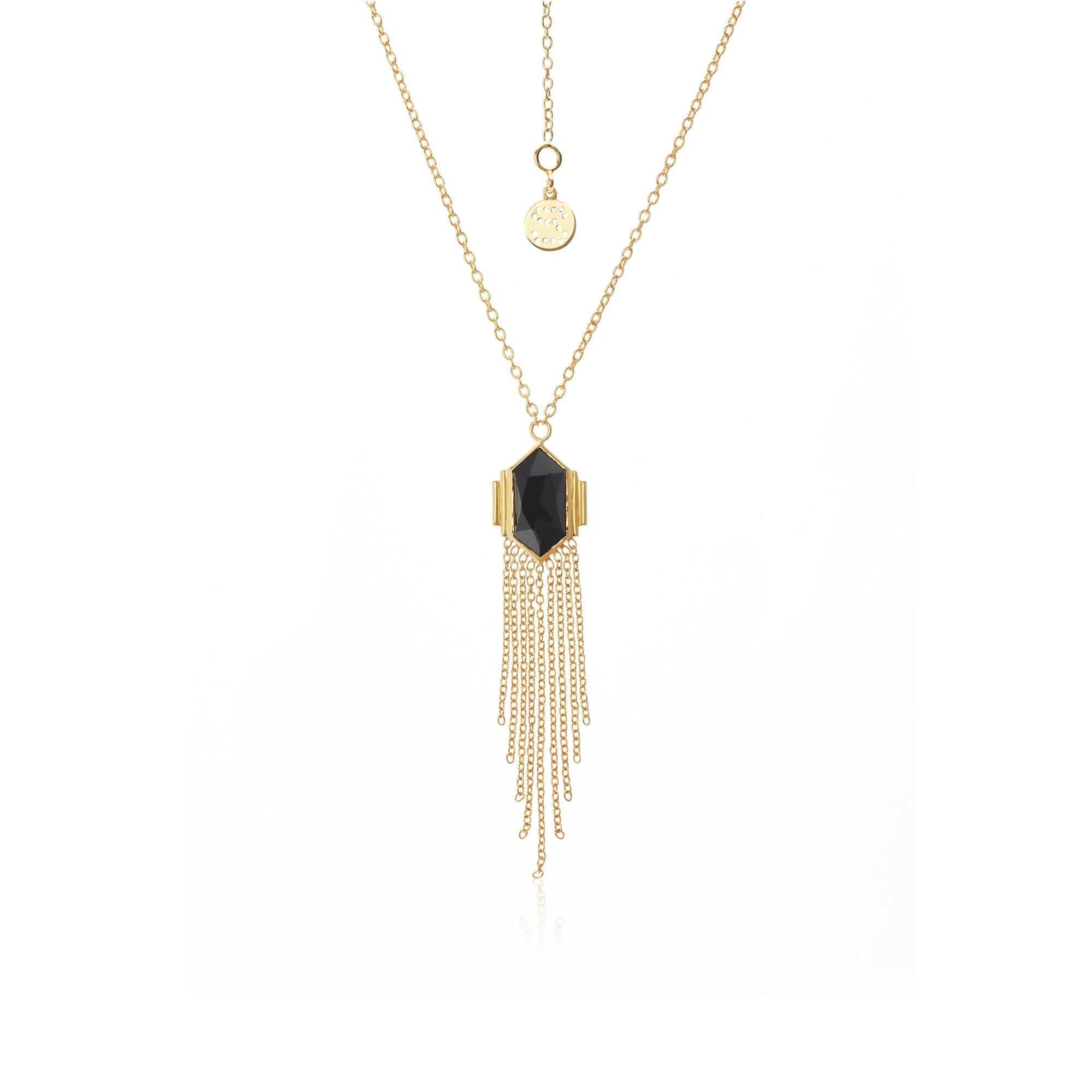 Silk & Steel Glamour Black Spinel + Gold Necklace