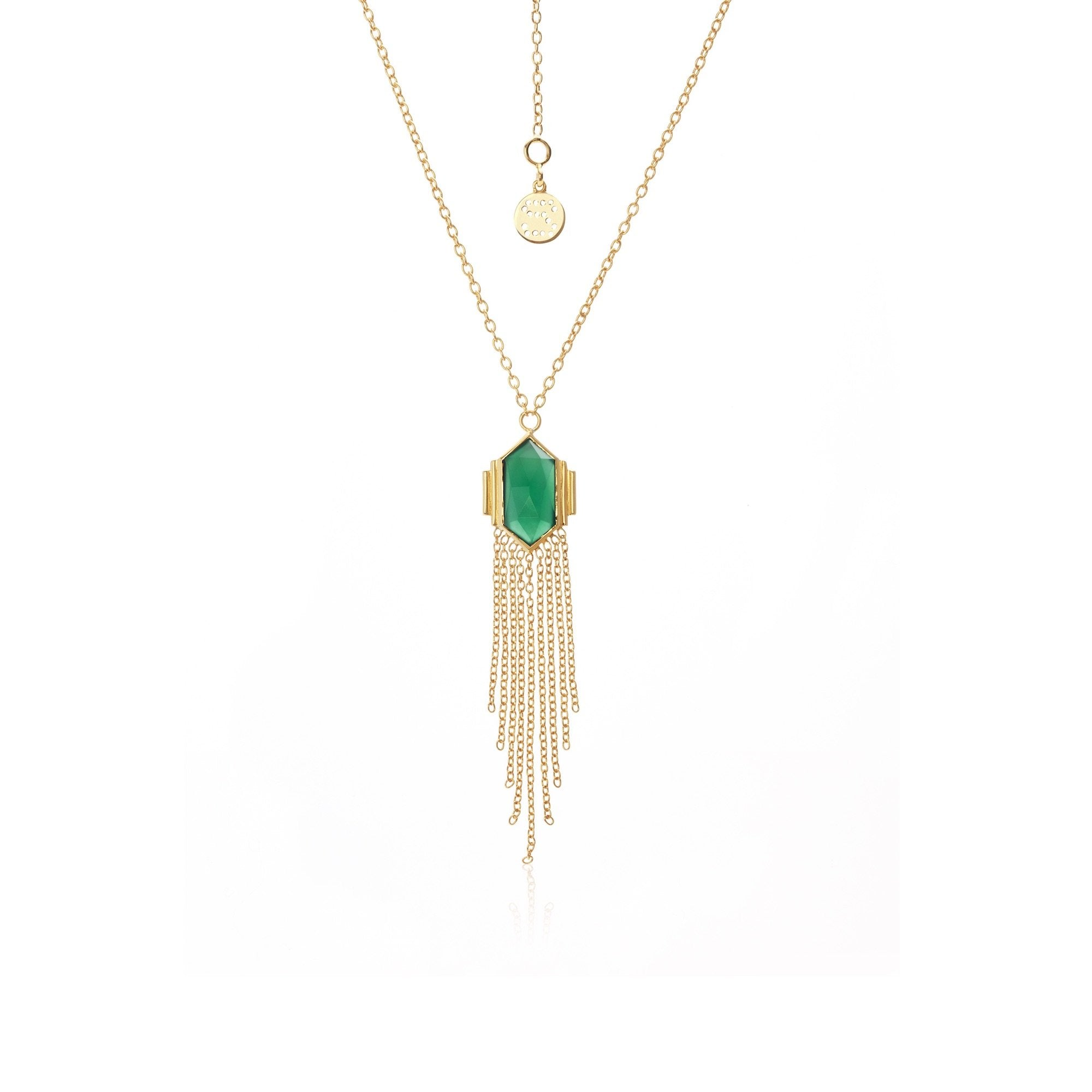 Silk & Steel Glamour Green Onyx + Gold Necklace